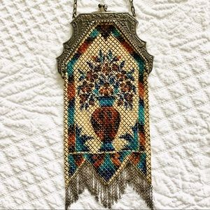 Vintage Mandalian Enamel Mesh Flapper Antique Bag